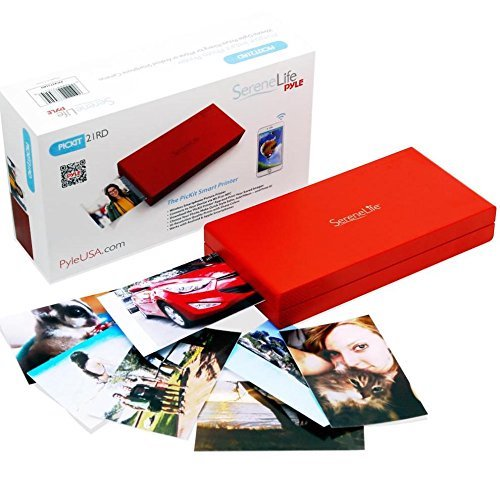 5. SereneLife - iPhone Photo Printer - Portable Instant Wireless Color Picture Printing for Apple, iPad or Android Mobile Smartphone Camera - Mini Compact Easy Travel Pocket Size - PICKIT21RD (Red)