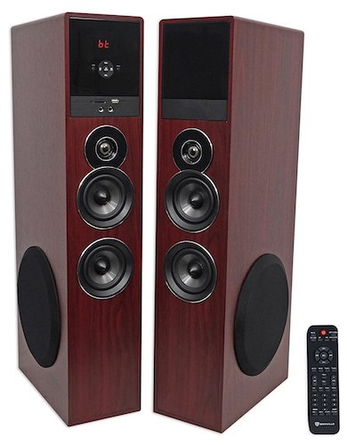 5. Rockville TM80C Cherry Powered Home Theater Tower Speakers