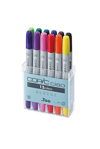 5. Copic IB12 Ciao Markers Basic Set, 12-Piece