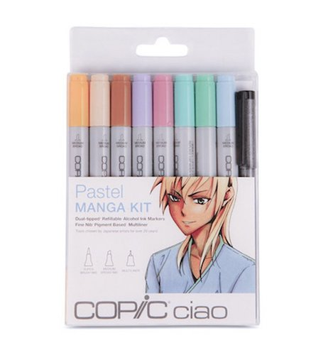 8. Copic Markers 9-Piece Ciao Manga Set, Pastel