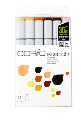 1. Copic Markers 6-Piece Sketch Set, Skin Tones