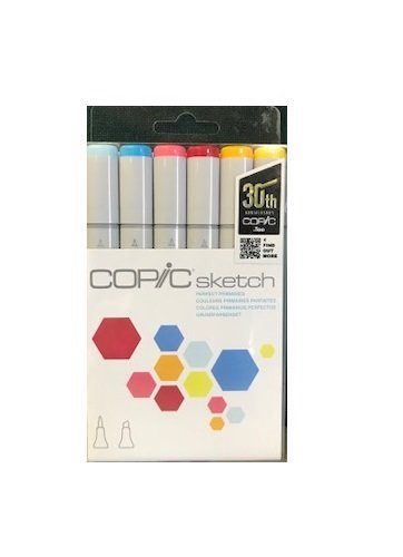 2. Copic Markers 6-Piece Sketch Set, Perfect Primaries