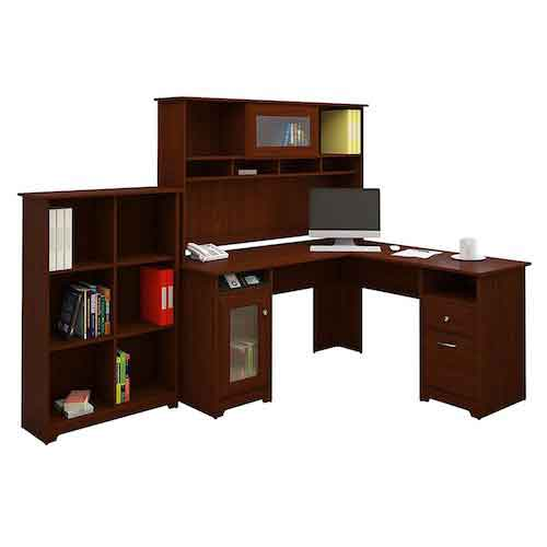 4. Cabot L Shaped Desk with Hutch and 6 Cube Bookcase