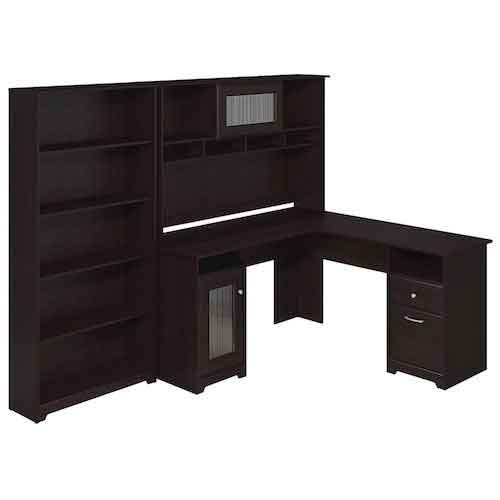 5. Cabot L Shaped Desk with Hutch and 5 Shelf Bookcase