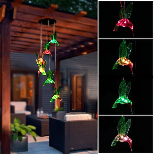 7. Color-Changing Solar LED Mobile Wind Chime, Pathonor LED Wind Chime Waterproof Six Hummingbird Wind Chimes For Home/ Party/ Night /Garden /Festival Decor/Gift