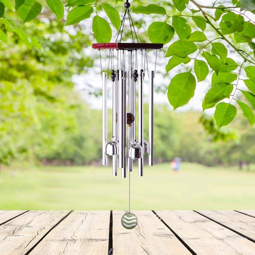 "8. Premium Wind Chimes Outdoor, 22"" Amazing Grace Wind Chimes Punada for Outdoor Indoor Patio Garden Balcony, Beautiful Outdoor Decor (Silver)"