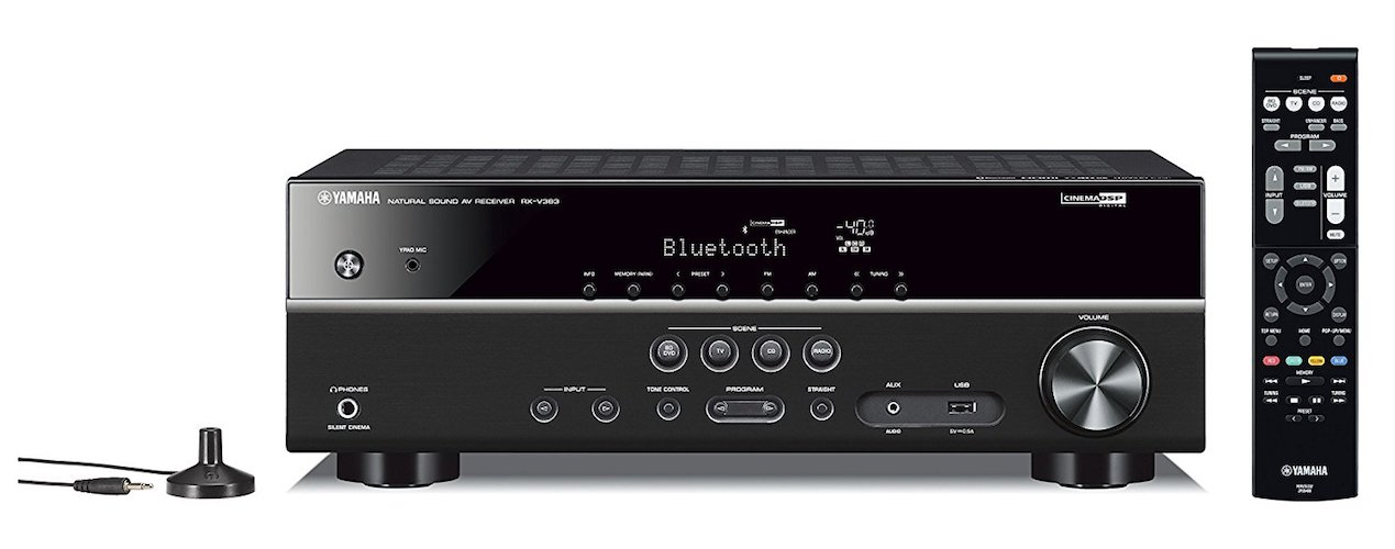 3. Yamaha RX-V383BL 5.1-Channel 4K Ultra HD AV Receiver with Bluetooth