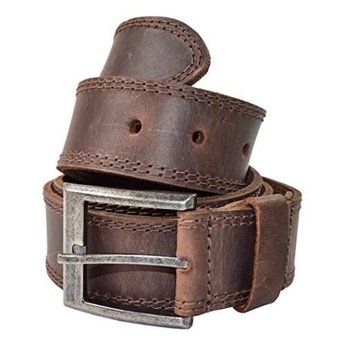 1. Men's Two Row Stitch Leather Belt Handmade by Hide & Drink: Bourbon Brown