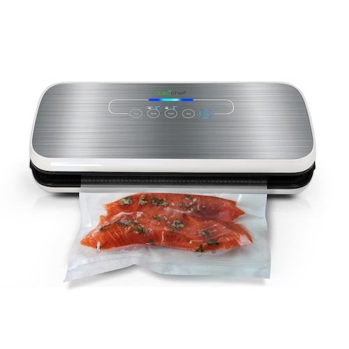 2. Vacuum Sealer By NutriChef | Automatic Vacuum Air Sealing System For Food Preservation w/ Starter Kit | Compact Design | Lab Tested | Dry & Moist Food Modes | Led Indicator Lights (Silver)