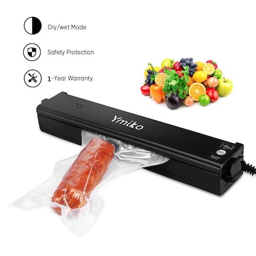 8. Vacuum Sealer Machine ,Ymiko Portable Compact Vacuum Sealing System for Vacuum and Seal /Seal ,Sous Vide Cooking Mufti-function including 20pcs Bags Black