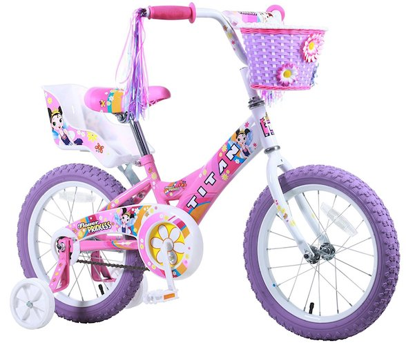 Best 16 Inch Bikes with Training Wheels 9. Titan Girl's Flower Princess BMX Bike