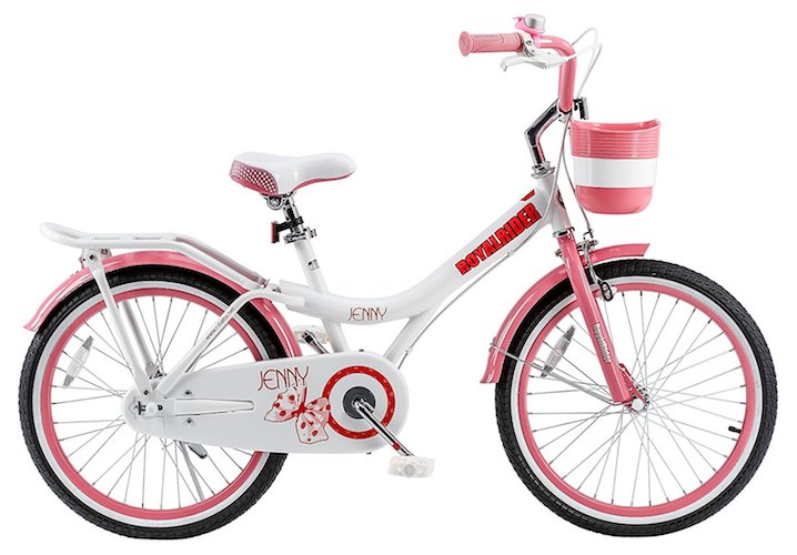 10. RoyalBaby Jenny Princess Pink Girl's Bike with Kickstand and Basket, White/Pink