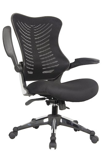 Top 10 Best Mesh Office Chairs Under $200: 7. Office Factor Executive Ergonomic Office Chair Back Mesh On Seat And Back Flip up Armrest Molded Seat with a 55kg Foam Density Double Handle Mechanism (BLACK MESH FABRIC SEAT)
