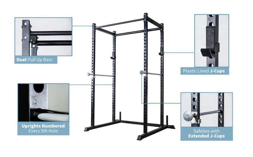 5. Rep Short Power Rack – PR-1050 – 72 inches with Optional Dip Attachment, Flat Bench, Adjustable Bench