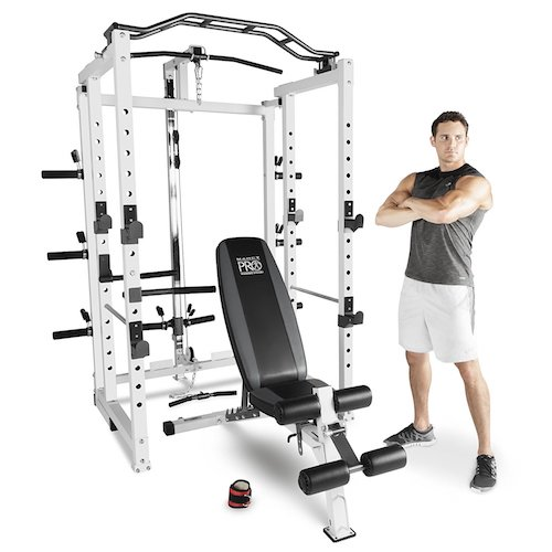 3. Marcy Pro Deluxe Folding Total Body Home Gym Cage Power Rack System with Bench
