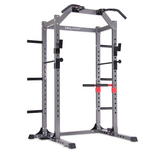 Top 10 Best Fitness Power Racks Under $500: 2. Body Power Deluxe Rack Cage System Enhanced with Upgrades / Full-length Safety Bars / Built-in Optional Floor Mount Anchors