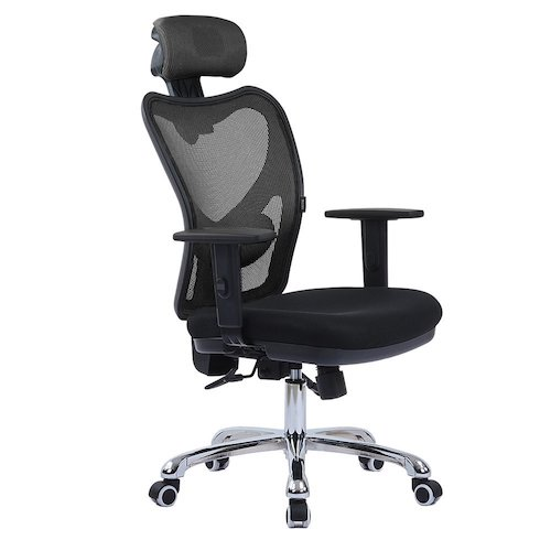 Top 10 Best Mesh Office Chairs Under $200: 5. LSCING High Back Comfortable Mesh Office Chair with Adjustable Headrest, Armrest and Lumbar Support, Black