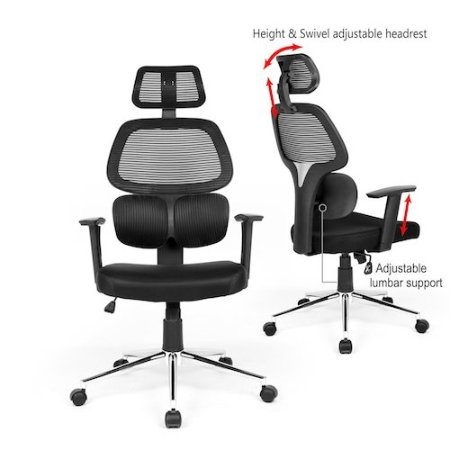 Top 10 Best Mesh Office Chairs Under $200: 3. Ergonomic Mesh Office Chair High Back Swivel Computer Desk Task Chairs with Adjustable Lumbar Support, Backrest, Headrest, Armrest and Seat Height for Home Office Conference Room