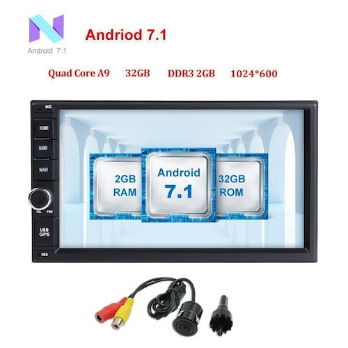 Top 10 Best Double Din Android Car Stereos: 8. Android 7.1 Car Stereo 32GB+ 2GB Double Din Radio with Bluetooth GPS Navigation Support Fastboot Wifi MirrorLink AUX USB SD Backup Camera 7 inch Touch Screen