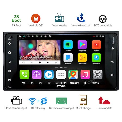 Top 10 Best Double Din Android Car Stereos: 7. [For Toyota] ATOTO A6 Android Car Navigation Stereo w/ Dual Bluetooth & 2A Charge -A6TYT711P 1G/32G Specific vehicle Entertainment Multimedia Radio, WiFi/BT Tethering internet, support 256G SD &more