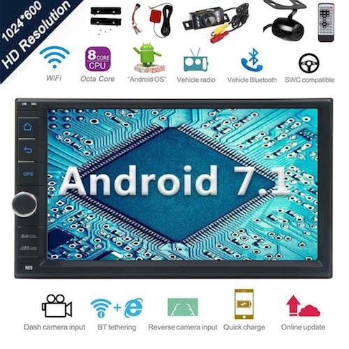 Top 10 Best Double Din Android Car Stereos: 1. Android 7.1 32GB 2GB Car Stereo Radio with Octa Core Bluetooth GPS Navigation Support Fastboot WiFi MirrorLink USB SD Backup Front Camera 7¡± 1024600 Capacitive Touchscreen Double Din + FREE Dual Cam