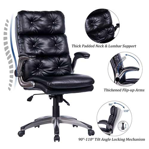 Top 10 Best Ergonomic Office Chairs Under $200 5. VANBOW High Back Bonded Leather Office Chair - Adjustable Tilt Angle and Flip-up Arms Ergonomic Tufted Computer Desk Executive Chair, Thick Padding for Comfort and Ergonomic Design for Lumbar Support