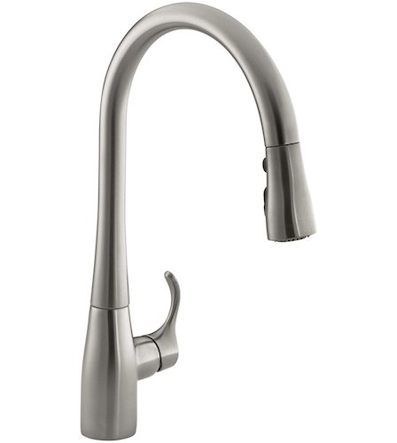 9. KOHLER K-596-VS Simplice Single-hole Pull-down Kitchen Faucet, Vibrant Stainless
