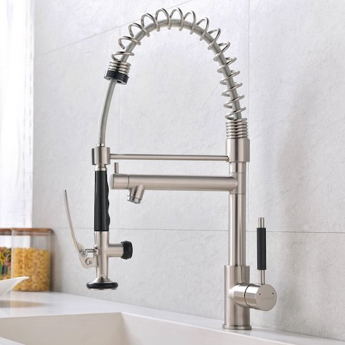 6. VCCUCINE Best Commercail Brushed Nickel Pull Down Kitchen Sink Faucet, 2 Spouts