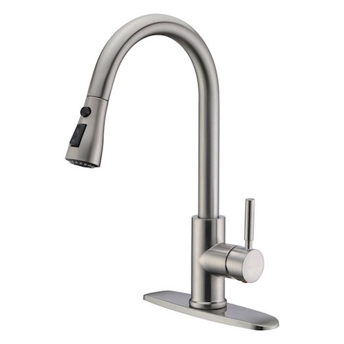 6. WEWE Single Handle High Arc Brushed Nickel Pullout Kitchen Faucet, Single Lever Stainless Steel Kitchen Sink Faucets with Pull-down Sprayer