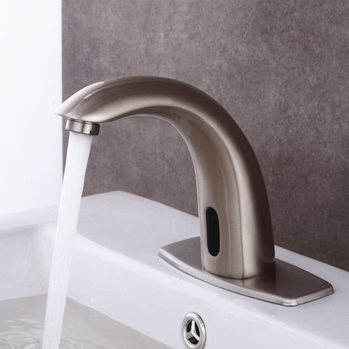 8. Fyeer Automatic Sensor Touchless Bathroom Sink Faucet with Hole Cover Deck Plate, Nickel Brush Finish, FN0103S