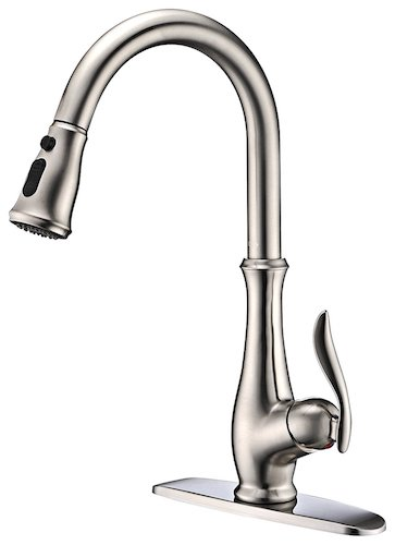 8. Commercial Single Handle High Arch Brushed Nickel Kitchen Faucets with Pull-down Sprayer, Single Level Deck Mounted Pull out Stainless Steel Kitchen Sink faucets with Deck Plate.