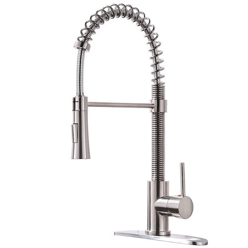 1. KINGO HOME Lead-Free Modern Stainless Steel Single Handle Pull-Down Sprayer Spring Brushed Nickel Kitchen Faucet, Kitchen Sink Faucet with Deck Plate