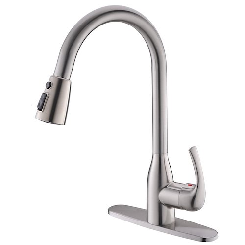 3. Modern Commercial Brushed Nickel Stainless Steel Single Handle Pull Down Sprayer Kitchen Sink Faucet, Pull Out Kitchen Faucets with Deck Plate