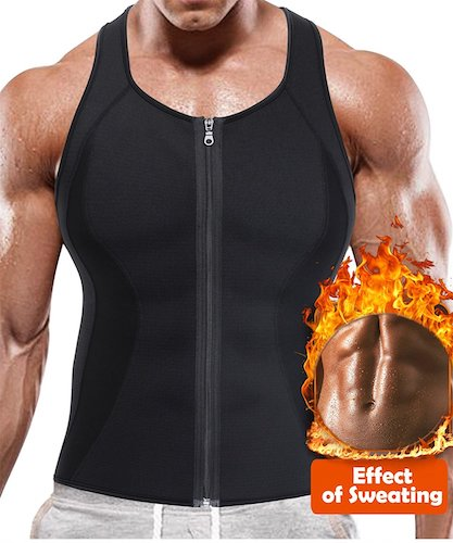 3. BRABIC Hot Sauna Sweat Suits,Zipper Closure Tank Top Shirt for Weight Lost,Waist Trainer Vest Slim Belt Workout Fitness-Breathable, Neoprene Fabric