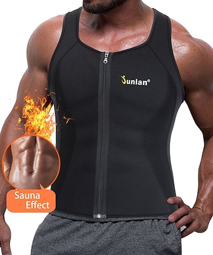 4. Junlan Men Sweat Waist Trainer Tank Top Vest Weight Loss Neoprene Workout Shirt Sauna