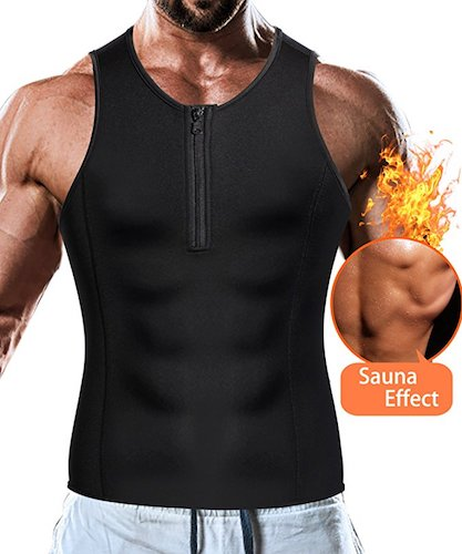5. Junlan Men Weight Loss Tank Top Shirt Sauna Vest Slim Body Shaper Muscle Workout Waist Corset Compression Tight Clothes Fitness