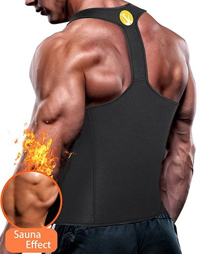 9. Junlan Men Workout Tank Top Vest Gym Shirt Weight Loss Dress Waist Body Shaper Sauna Suit Slim Corset Compression Clothes