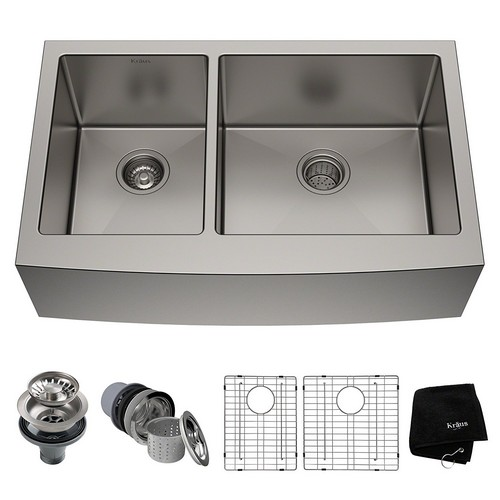 BEST UNDERMOUNT KITCHEN SINKS 7. Kraus KHF203-36 36-inch Farmhouse Apron 60/40 Double Bowl 16-gauge Stainless Steel Kitchen Sink