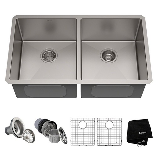 BEST UNDERMOUNT KITCHEN SINKS 9. KRAUS Standard PRO 33-inch 16 Gauge Undermount 50/50 Double Bowl Stainless Steel Kitchen Sink, KHU102-33