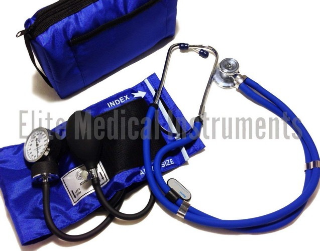 Best Stethoscopes for Blood Pressure 7. EMI ROYAL BLUE Sprague Rappaport Stethoscope and Aneroid Sphygmomanometer Blood Pressure Set Kit - #330