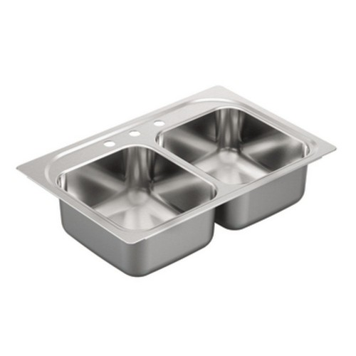 BEST UNDERMOUNT KITCHEN SINKS 4. Moen G222133 2200 Series 22 Gauge Double Bowl Drop In Sink, Stainless Steel
