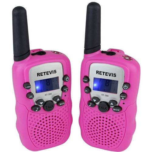 BEST WALKIE TALKIES FOR KIDS 9. Retevis RT-388 Walkie Talkies for Kids 22 Channel FRS LCD Display Flashlight VOX Kids Walkie Talkies (2 Pack, Pink)