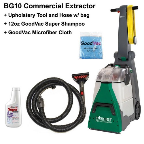 BEST AREA RUG CLEANERS 6. Bissell BG10 Big Green Deep Cleaning Machine Bundle Kit with Upholstery Tool Kit GoodVac Cleaning Cloth GoodVac Super Shampoo Carpet Shampoo
