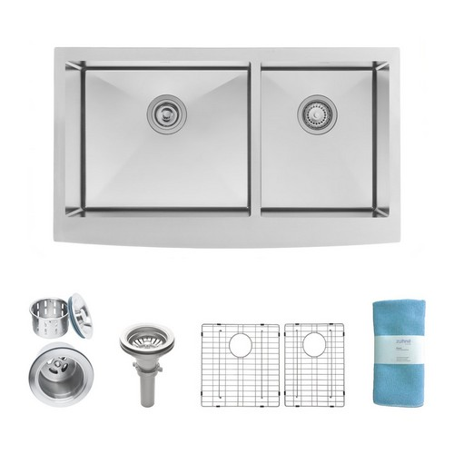 BEST UNDERMOUNT KITCHEN SINKS 10. Zuhne Turin 33 Inch Farmhouse Apron Front 60/40 Deep Double Bowl 16 Gauge Stainless Steel Luxury Kitchen Sink
