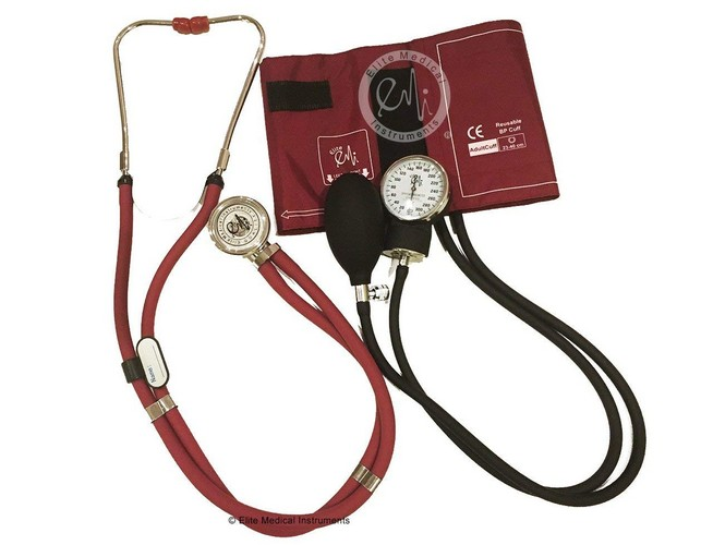 Best Stethoscopes for Blood Pressure 5. EMI BURGUNDY 330 Sprague Rappaport Stethoscope and Aneroid Sphygmomanometer Blood Pressure Set Kit