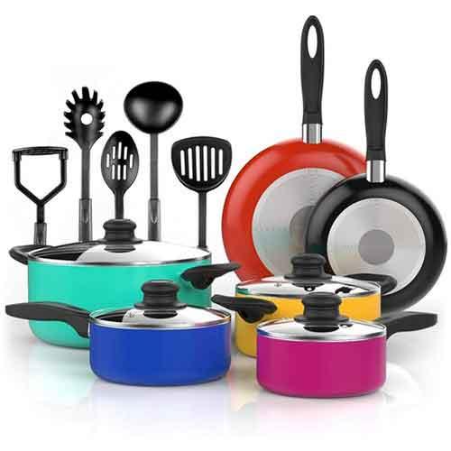 Best Non Stick Pans For Gas Stove 10. Vremi 15 Piece Nonstick Cookware Set