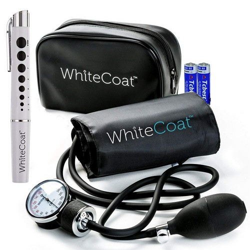 Best Stethoscopes for Blood Pressure 8. White Coat Deluxe Aneroid Sphygmomanometer Professional Blood Pressure Cuff Monitor with Adult Sized Black Cuff and Carrying Case Bonus LED.