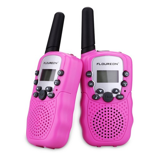 BEST WALKIE TALKIES FOR KIDS 5. FLOUREON Walkie Talky for Kids Two Pack 22 Channel Two Way Radio 3000M (MAX 5000M Open Field) UHF Long Range Handheld (Pink)