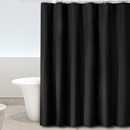 4. Eforgift Contemporary Small Shower Curtain Polyester 100% Waterproof and Anti-Bacterial Dark Color Shower Curtain Fabric Black with Rust Proof Metal Rings, 36 inches x 72 inches
