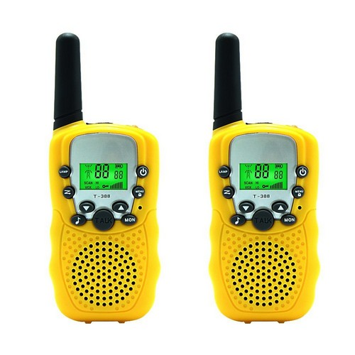 BEST WALKIE TALKIES FOR KIDS 7. Aphse Kids Walkie Talkie Two Ways Radio Toy T-388 Walkie Talkie for Kids 3 Miles Range 22 Channels FRS GMRS Handheld Mini Walkie Talkies for Outdoor Adventures Camping Hiking Set of 2 (Yellow)